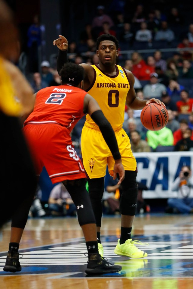 Mar 20, 2019; Dayton, OH, USA; Arizona State Sun Devils guard Luguentz Dort (0) looks to move the ball defended by St. John's Red Storm guard Shamorie Ponds (2) in the second half in the First Four of the 2019 NCAA Tournament at Dayton Arena. Mandatory Credit: Rick Osentoski-USA TODAY Sports