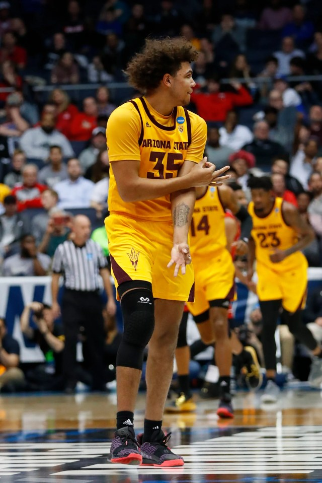 Mar 20, 2019; Dayton, OH, USA; Arizona State Sun Devils forward Taeshon Cherry (35) reacts to a play in the first half against the St. John's Red Storm in the First Four of the 2019 NCAA Tournament at Dayton Arena. Mandatory Credit: Rick Osentoski-USA TODAY Sports