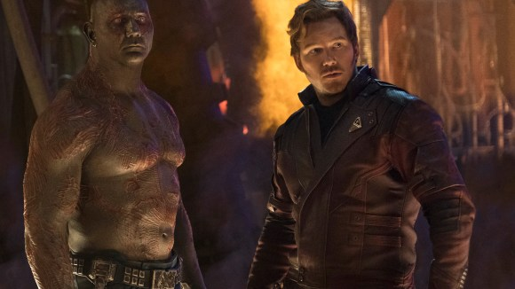 """Drax (Dave Bautista, left, with Chris Pratt) is the Guardians of the Galaxy's resident muscle - who did not end """"Infinity War"""" in a good place."""
