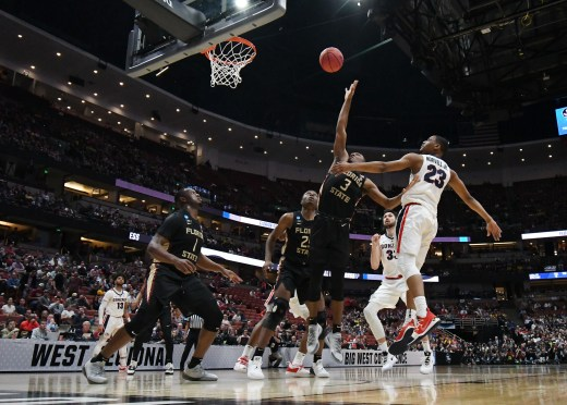 March 28, 2019; Anaheim, CA, USA; Florida State Seminoles guard Trent Forrest (3) plays for the rebound against Gonzaga Bulldogs guard Zach Norvell Jr. (23) during the first half in the semifinals of the west regional of the 2019 NCAA Tournament at Honda Center. Mandatory Credit: Richard Mackson-USA TODAY Sports