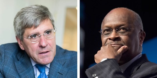 Stephen Moore and Herman Cain in Washington on Aug. 31, 2016, and June 20, 2014, respectively.