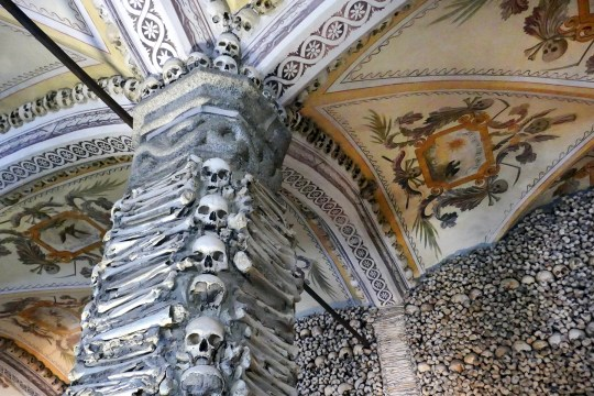 The Chapel of Bones at the Church of St. Francis in Évora, Portugal, contains thousands of skulls and bones unearthed from various churchyards.