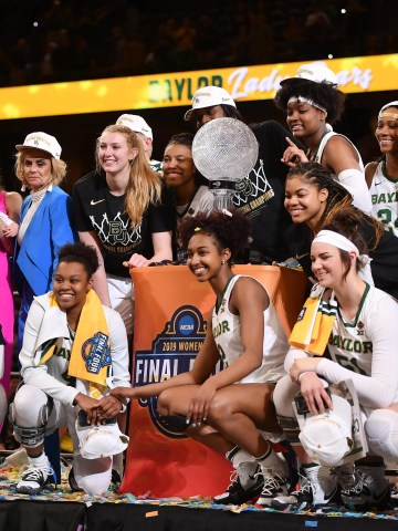 Baylor celebrates the third national championship in school history.