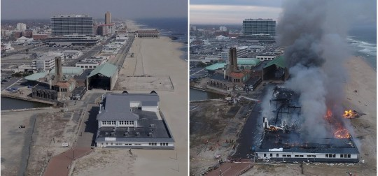 The pavilion at the north end of the Ocean Grove boardwalk is shown (left) on March 20, 2019, and then (right) as a massive fire consumed the structure Saturday, April 13, 2019.