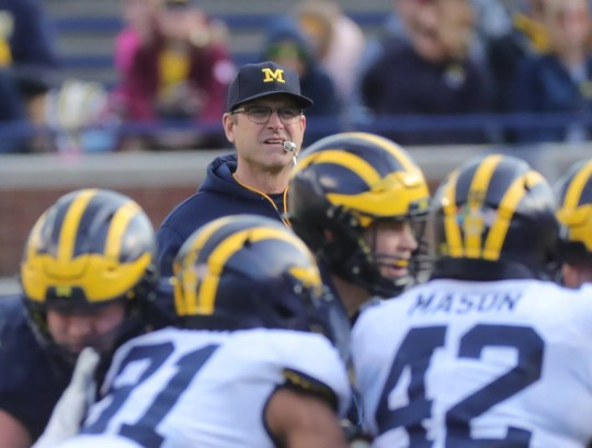 Michigan head coach Jim Harbaugh watches the action during the spring game Saturday April 13, 2019 at Michigan Stadium in Ann Arbor.