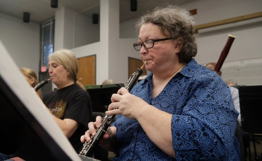 Susan Maynard plays the oboe during Big Bend Orchestra practice Thursday, April 11, 2019.