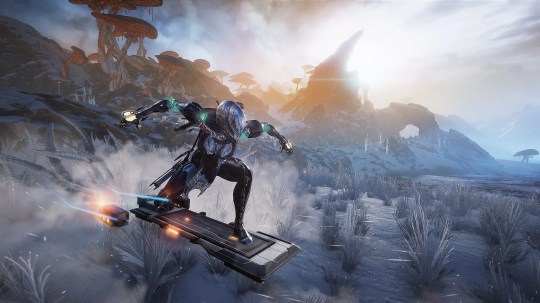 """In a recent expansion called Fortuna, those who play """"Warframe"""" can now venture to Venus, where they can fight a slew of new enemies while zipping around on customizable hoverboards."""