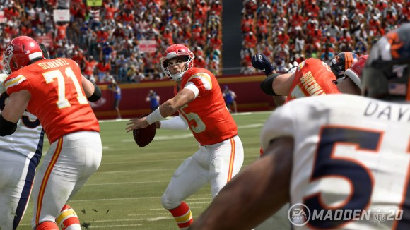 Kansas City Chiefs quarterback Patrick Mahomes as seen in the video game 'Madden NFL 20.'