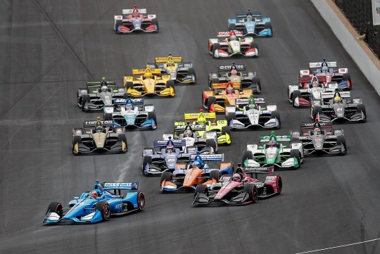 May 11, 2019: The field of 24 IndyCars led by Chip Ganassi Racing driver Felix Rosenqvist (10) makes a turn one in the first lap of the IndyCar Grand Prix at the Indianapolis Motor Speedway