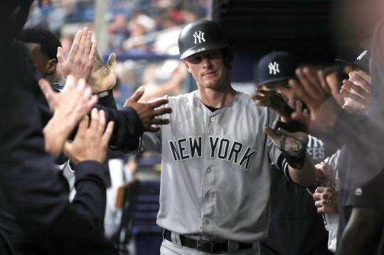 New York Yankees second baseman DJ LeMahieu (26) is congratulated in the dugout as he scores a run during the first inning against the Tampa Bay Rays at Tropicana Field.