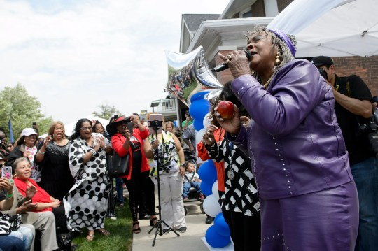 """Martha Reeves, Motown Legendary singer, performs """"Dancing in the Street"""" during the annual Founder's Day at the Motown Museum in Detroit on Sunday. The event included performances and activities, as well as a Dancing in the Street park opening."""