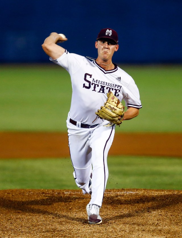Mississippi State's Brandon Smith throws a pitch during the first inning of a Southeastern Conference tournament NCAA college baseball game against LSU, Wednesday, May 22, 2019, in Hoover, Ala. (AP Photo/Butch Dill)
