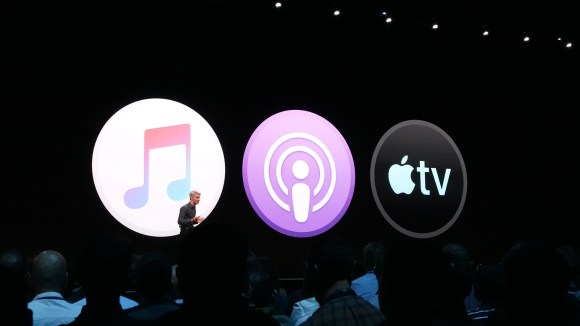 Apple's Craig Federighi introduces the new look of iTunes as three separate apps for music, podcasts and TV at the WWDC show.