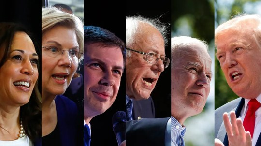 A new statewide Glengariff Group public opinion survey of 600 likely voters shows how Democratic presidential candidates Kamala Harris, from left, Elizabeth Warren, Pete Buttigieg, Bernie Sanders, and Joe Biden fare against incumbent President Donald Trump.