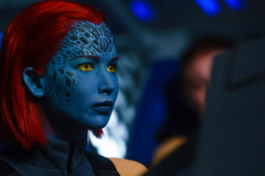 "Jennifer Lawrence stars as the blue-skinned shapeshifter Mystique in ""Dark Phoenix."""