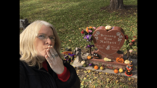 Jenny Hallett is shown at the grave of her daughter, Brittany Rose, whose death was alcohol-induced.