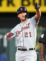 Detroit Tigers center fielder JaCoby Jones(21) celebrates after hitting a double against the Kansas City Royals during the fifth inning at Kauffman Stadium on Wednesday, June 11, 2019.