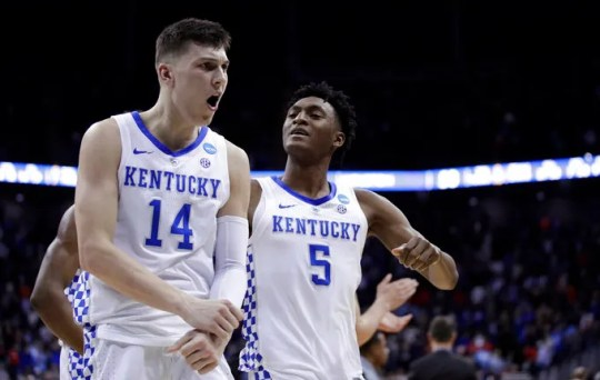 Tyler Herro (14) Kentucky and Immanuel Quickley celebrate after NCAA college Midwest basketball men's contest, regional semifinal game against Houston Friday, March 29, 2019, in Kansas City, Mo.