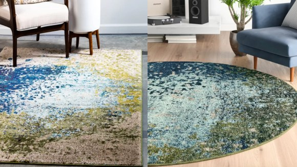 In a round shape, this rug has a earthy look to it.