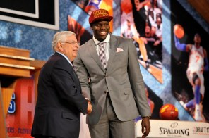Anthony Bennett shakes hands with then-NBA commissioner David Stern after being selected as the No. 1 overall pick by the Cleveland Cavaliers during the 2013 draft.