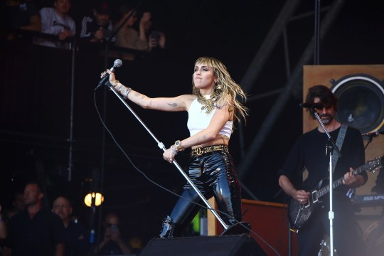 Miley Cyrus performs on the final day of Glastonbury Festival at Worthy Farm, Somerset, England.