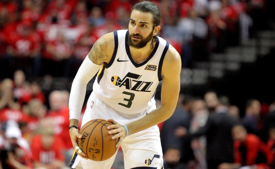 Jazz guard Ricky Rubio works with the ball during Game 5 of a first round playoff series against the Rockets.