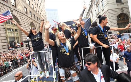 United States midfielder Julie Ertz celebrates during the Women's World Cup championship parade and celebration for the U.S. Women's National Team at Canyon of Heroes.