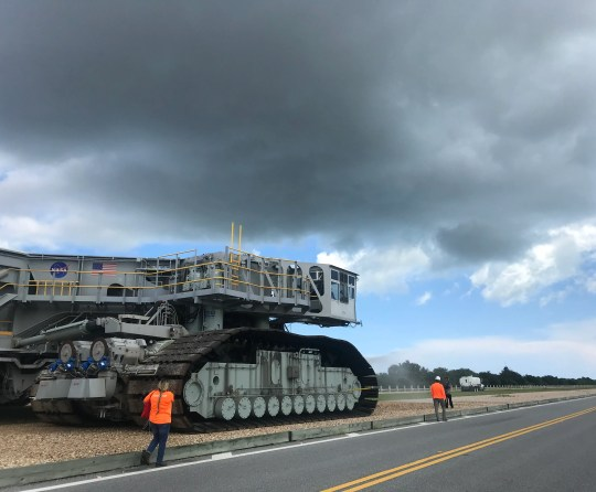 Kennedy Space Center's Crawler Transporter 2 vehicle heads to pad 39B in preparation for Tropical Storm Dorian.