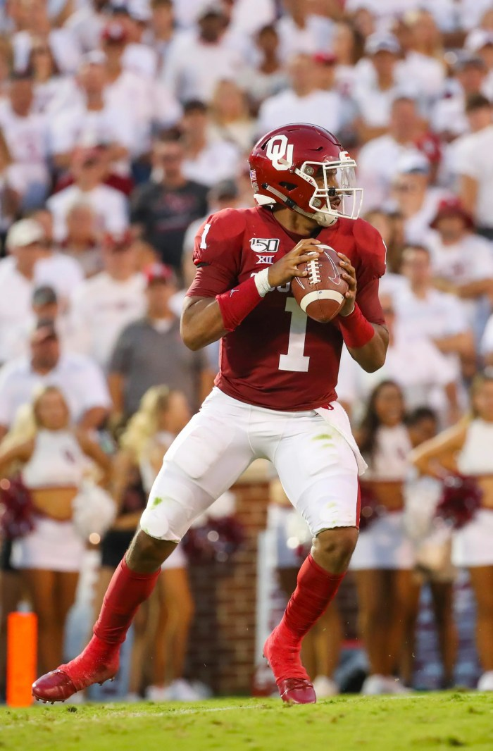 Jalen Hurts throws during the game against Houston.