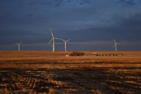 A wind turbine installation owned by NextEra Energy in Calhan, Colorado.