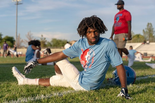 Edward L.A Crocker of South Mountain High School football team gets ready at their stadium to play against North Canyon High School on August 30th, 2019.