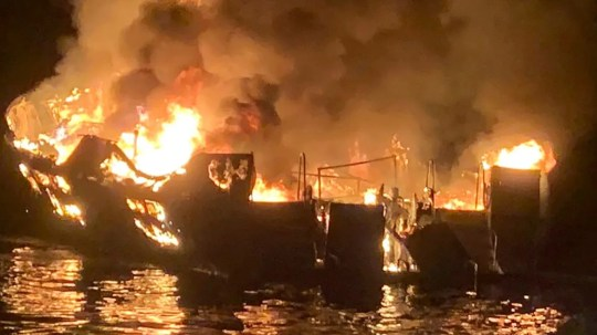 In this Sept. 2, 2019, file photo, provided by the Santa Barbara County Fire Department, the Conceptiion is engulfed in flames after a deadly fire broke out aboard the commercial scuba diving vessel off the Southern California Coast.