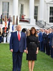 President Donald Trump and first lady Melania Trump at the White House to mark the 18th anniversary of the 9/11 attacks, on Sept. 11, 2019.