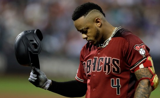 Sep 11, 2019: Arizona Diamondbacks center fielder Ketel Marte (4) reacts after grounding out against the New York Mets during the fifth inning at Citi Field.