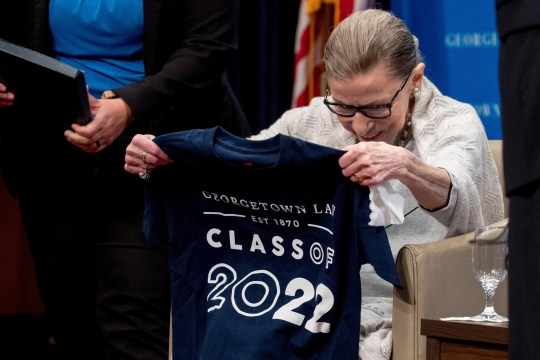 Supreme Court Justice Ruth Bader Ginsburg received an honorary Class of 2022 T-shirt from first-year students at Georgetown University Law Center earlier this month.