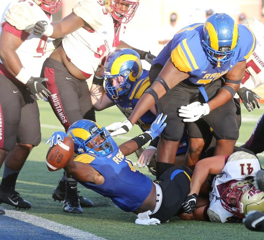 Lloyd Howard of Angelo State University only managed to score against the Midwestern State during the Lone Star Conference match at LeGrand Stadium at the 1st Community Credit Union Field on Saturday, September 28, 2019.