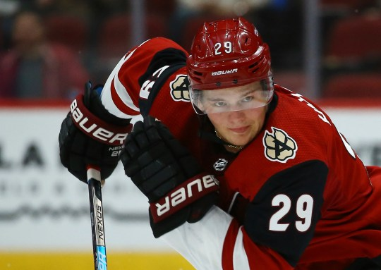 Arizona Coyotes' Barrett Hayton skates to the puck against the Los Angeles Kings during the second period of a preseason NHL hockey game Tuesday, Sept. 17, 2019, in Glendale, Ariz. (AP Photo/Ross D. Franklin)