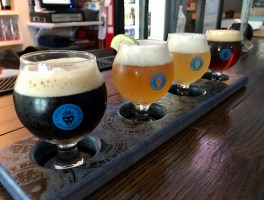 A flight at Brainy Borough Brewing.