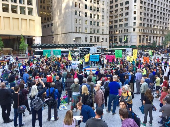 Climate protesters gather across from City Hall in Chicago, Illinois on Oct. 7, 2019.