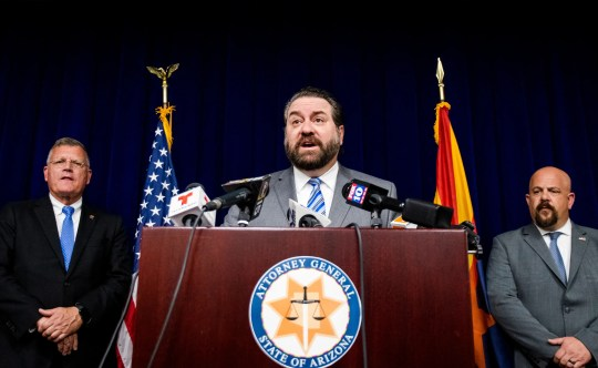 Attorney General Mark Brnovich speaks at a press conference announcing the multi-state investigation, arrest and criminal indictment involving Maricopa County Assessor Paul D. Petersen at the  Office of the Attorney General on Oct. 9, 2019.