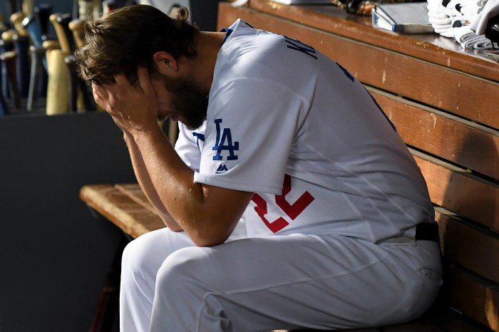 Kershaw in the dugout after being removed in the eighth inning.