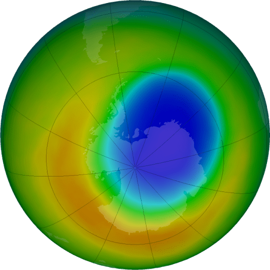 A view of the ozone hole over Antarctica as of October 2019. The blue and purple colors are where there is the least ozone, and the yellows and reds are where there is more ozone.