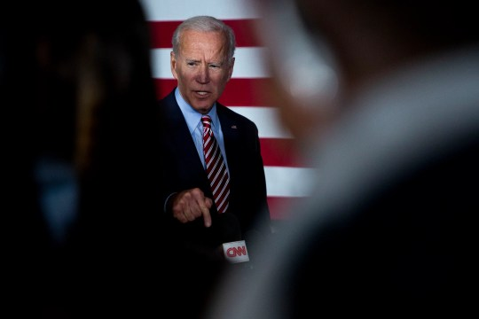 Former Vice President Joe Biden answers questions from the press after giving remarks during a campaign event on Wednesday, Oct. 23, 2019, in West Point.
