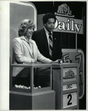 Aggie Usedly and Rick Hamilton drawing lottery numbers in 1983.
