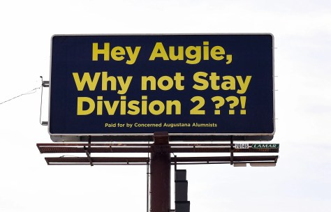 "A billboard ""paid for by Concerned Augustana Alumni"" stands at the intersection of 39th St. and Minnesota Ave. on Tuesday, October 29, in Sioux Falls."