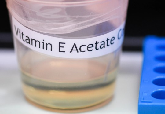 Vitamin E acetate, an additive found in vaping products, is not currently prohibited in Michigan under the state's marijuana program. The Centers for Disease Control and Prevention in Atlanta said fluid extracted from 29 lung injury patients who vaped contained the chemical compound in all of them.