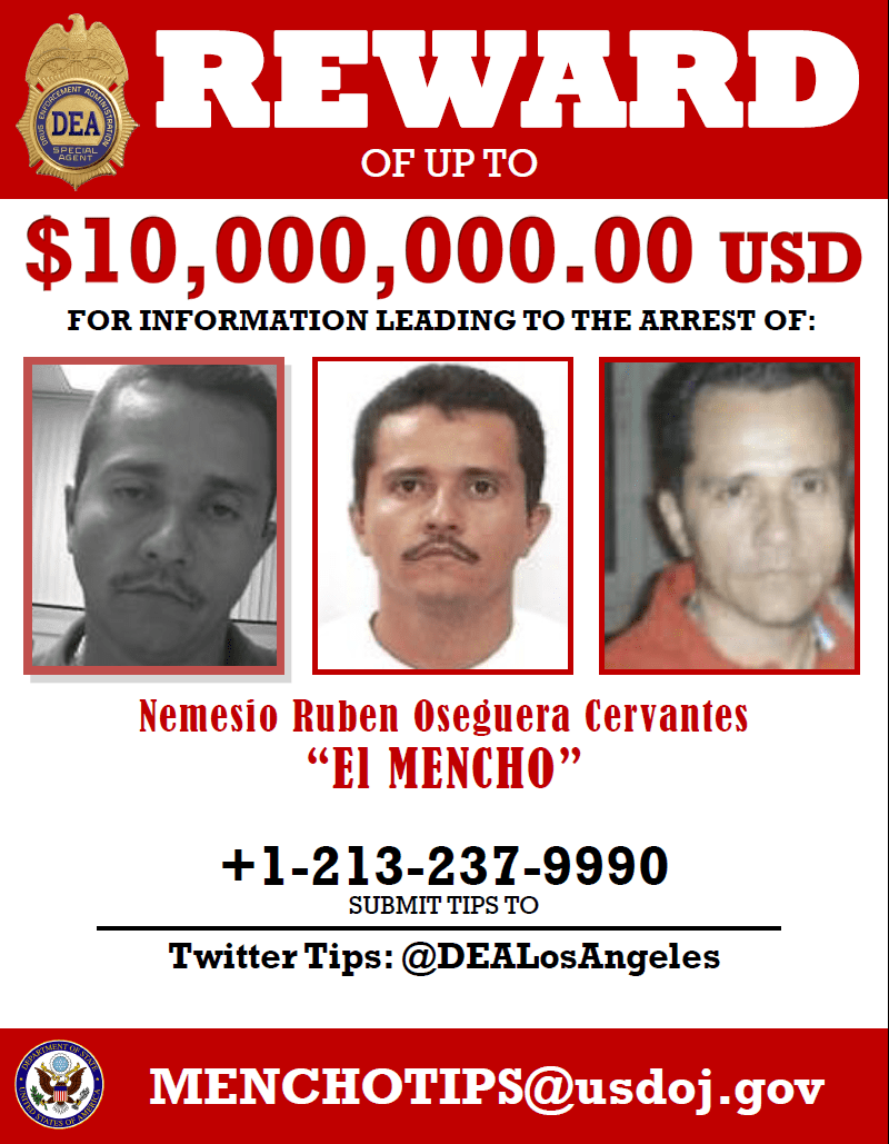 In this search poster, the United States announces a rare $ 10 million reward for helping find El Mencho, a ruthless billionaire cartel boss.