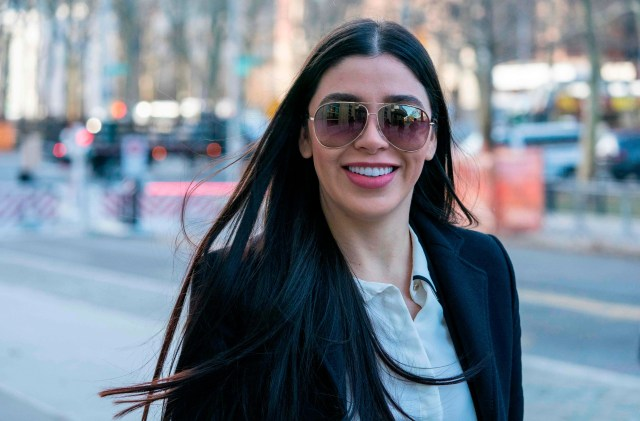 """The wife of Joaquin """"El Chapo"""" Guzman, Emma Coronel Aispuro, arrives at the US Federal Courthouse in Brooklyn on January 14, 2019 in New York."""