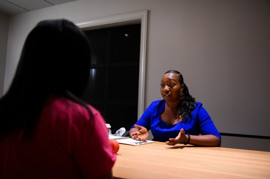 Jennifer Jones, founder of Beauty Marks for Girls, does a one-on-one mentoring session with Lily Blakely, 15, on Tuesday, Nov. 12, 2019.