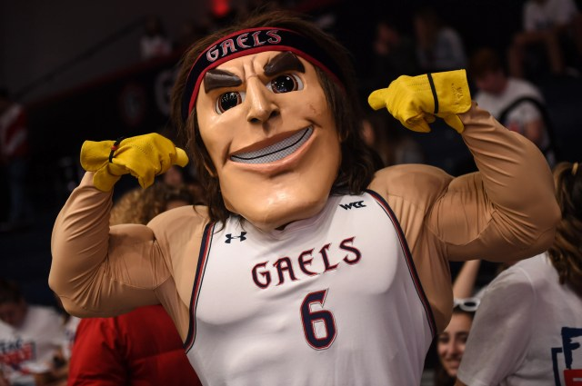 Nov. 14: The St. Mary's Gaels mascot performs during the game against the Long Beach State 49ers at McKeon Pavilion.